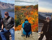 (L-R) A bike ride down the Pacific coast by Ian MacKenzie (Theme: Summer vacations, Sept. 4, 2014), Dundas Peak in Hamilton by Franklin Wang - via Twitter (Theme: Orange, Oct. 23, 2014), Lake Louise ski hill by Evelina (Theme: Skiing, Dec. 11, 2014).