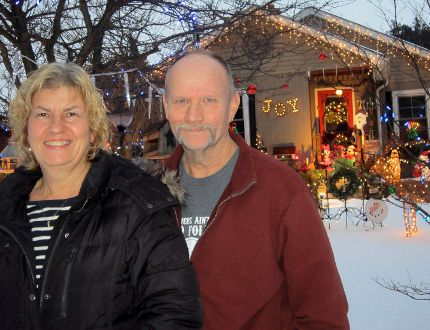 David and Shirley Bridge of Cherry Street in Simcoe are among 36 households in Norfolk participating in the Simcoe Panorama's Lights of the County Tour. The event began Nov. 29 and runs through Jan. 4. (MONTE SONNENBERG Simcoe Reformer)