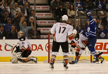 Leafs Joffrey Lupul scores the second goal of the game for the Leafs. Toronto Maple Leafs vs. Anaheim Ducks. Leafs lead 2-1 at the end of the second period. in Toronto on Tuesday December 16, 2014. Jack Boland/Toronto Sun/QMI Agency