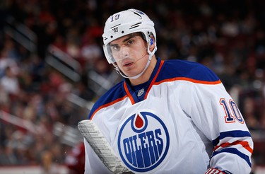 GLENDALE, AZ - DECEMBER 16: Nail Yakupov #10 of the Edmonton Oilers skates on the ice during a break from the NHL game against the Arizona Coyotes at Gila River Arena on December 16, 2014 in Glendale, Arizona.   Christian Petersen/Getty Images/AFP == FOR NEWSPAPERS, INTERNET, TELCOS & TELEVISION USE ONLY ==