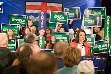 Wildrose Party leader Danielle Smith met with supporters and spoke at the Coast Edmonton Plaza Hotel in Edmonton, Alberta, on April 16, 2012. Smith and other local candidates signed the Wildrose Pledge, which promises reforms to lower government spending, to change family policies, to increase savings, to introduce an energy dividend, to reduce hospital wait times and to pass an accountability act for Alberta. IAN KUCERAK/EDMONTON SUN/QMI AGENCY