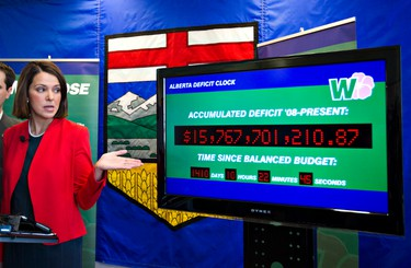 Wildrose Party leader Danielle Smith releases her parties alternate budget in Edmonton, Alberta on Friday, February 10, 2012. They also unveiled their Alberta Deficit Clock that tallies their projected debt in realtime. AMBER BRACKEN/EDMONTON SUN/QMI AGENCY