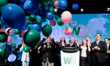 Wildrose Alliance leader Danielle Smith celebrates with party candidates after delivering the keynote speech during the provincial party's AGM at the Telus Convention Centre in Calgary on Friday June 24, 2011. LYLE ASPINALL/CALGARY SUN/QMI AGENCY