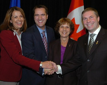 Jan. 2010  From L to R Danielle Smith, Leader of Wildrose Alliance Party, Rob Anderson, MLA for Airdrie -Chestermere, Heather Forsyth, MLA for Calgary Fish Creek and Paul Hinman all at the Sheraton Eau Claire Hotel in downtown Calgary where they announced that Anderson and Forsyth had left the Conservative Party and joined the Wild Rose Alliance. STUART DRYDEN/QMI AGENCY