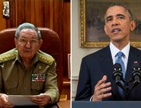 Cuba's President Raoul Castro speaks to the nation via public television in Havana December 17, 2014. U.S. President Barack Obama announces a shift in policy toward Cuba while delivering an address to the nation from the Cabinet Room of the White House in Washington, December 17, 2014. (REUTERS/Cuba TV and REUTERS/Doug Mills/ Pool)