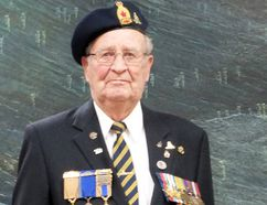 Sidney McLean (left) received the French Legion of Honour Medal Tuesday night for his role in the Second World War. The Imperial Oil retiree was the only member of his original gun crew to survive the war. To the right is retired Major Eugene Smith, who led the ceremony, held at the Petrolia branch of the Royal Canadian Legion. (BRENT BOLES, QMI Agency)