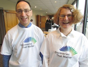 George Mallay, general manager of the Sarnia-Lambton Economic Partnership, and Alison Mahon, with the Community Roundtable, were part of the unveiling Thursday of Discoveries That Matter, a new brand logo and tag line for the community. PAUL MORDEN/ THE OBSERVER/ QMI AGENCY