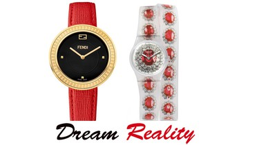 Watches are a great go-to gift for anyone on your list, and can be found in any budget.DREAM - Fendi My Way Gold Tone 36mm with black dial and red strap, $1,095; Holt RenfrewREALITY - Swatch Ruby Silver (LK342), $55; Swatch