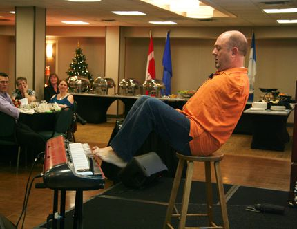 "Motivational speaker Alvin Law, a thalidomide survivor who was born without arms, spoke at the Dec. 15 Leduc Regional Chamber of Commerce luncheon on living a life of defying labels. Law rejects ""victim"" and ""handicapped"" identities, showing off his musical talents (playing piano and the drums) as evidence of what can be achieved through a sense of humour and positive attitude."