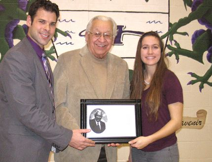 <p>From left to right Friday at L'Heritage's 20th anniversary celebration are principal Eric Genier, special guest and former Superintendent of Education Gerald G. Samson, and school student council president Karine Lecuyer.</p><p>TODD HAMBLETON/CORNWALL STANDARD-FREEHOLDER/QMI AGENCY