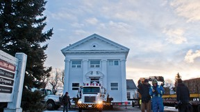 The historic bank of commerce building gets set to embark on its journey to the Kootenai Brown Pioneer Village in Pincher Creek. Greg Cowan photos/Pincher Creek Echo.