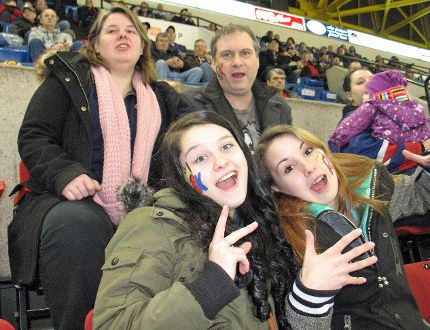 Cornwall River Kings owner Steven Moreau with his wife, Kim Williams, and daughters Courtney (bottom left) and Kaitlyn, at the Saturday, home game against Thetford Mines at the civic complex. TODD HAMBLETON/CORNWALL STANDARD-FREEHOLDER/QMI AGENCY