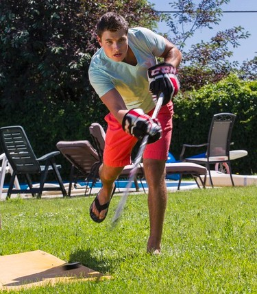 Top prospect Cody Ceci practices his shot in his Orleans backyard in advance of the NHL Draft. Thursday June 14,2012. (ERROL MCGIHON/THE OTTAWA SUN/QMI AGENCY).