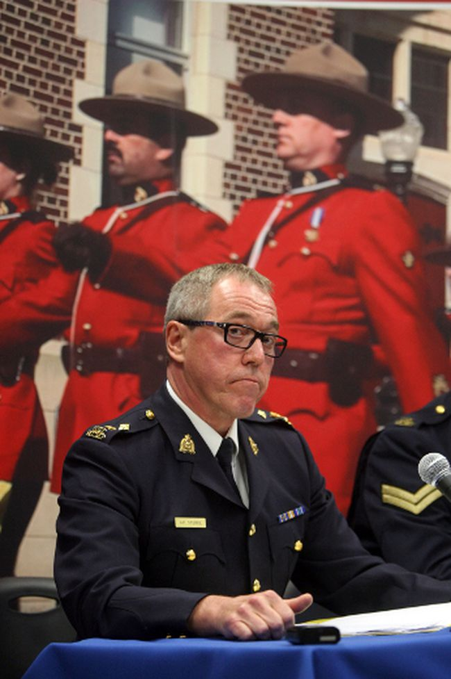 Supt. Gary Steinke speakds to the media on the charges recommenced in the 2009 homicides of Barry Boenke and Susan Trudel during a news conference at RCMP headquarters in Leduc, Alberta on May, 11  2012.    PERRY MAH/EDMONTON