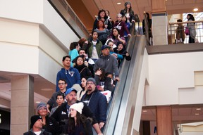 Shoppers crowed Polo Park on Friday, Dec. 26, looking for door-crashers at H&M and lining up outside Lululemon and Victoria's Secret.