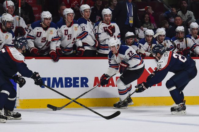 American Hudson Fasching races into the Slovakia zone during the second period of a 2015 IIHF World Junior Championship game at the Bell Centre in Montreal on December 29th, 2014. (MICHEL DESBIENS/QMI AGENCY)