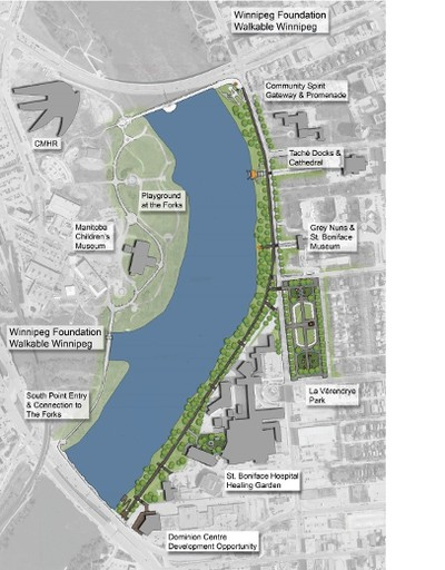 The proposed Tache Promenade project includes adding a treetop lookout which faces the Red River and overlooks the CMHR. It's a $4.4-million proposal, with $1 million being given by Winnipeg Foundation for project. (HANDOUT)