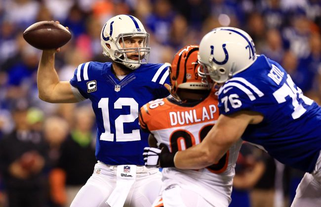 Indianapolis Colts quarterback Andrew Luck (12) throws a pass against the Cincinnati Bengals in the first quarter in the 2014 AFC Wild Card playoff football game at Lucas Oil Stadium. (Andrew Weber-USA TODAY Sports)
