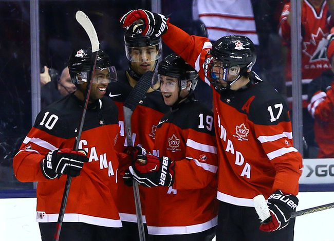 Team Canada celebrates a goal against Team Slovakia during the semifinals at the 2015 World Junior Hockey Championships at the Air Canada Centre in Toronto on Sunday January 4, 2015. (Dave Abel/Toronto Sun/QMI Agency)