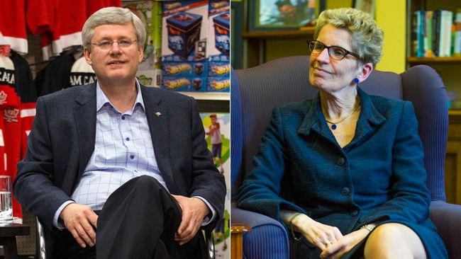 Prime Minister Stephen Harper and Ontario Premier Kathleen Wynne. (File photos)