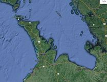 The Bruce Peninsula and surrounding area. Google Maps screen shot image.