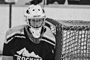 Sean Park faced over 100 shots in two games over the weekend for the Southwest Rockies. The goaltender turned heads and created disbelief on the faces of more than one opposing shooter. Greg Cowan photo/Pincher Creek Echo.