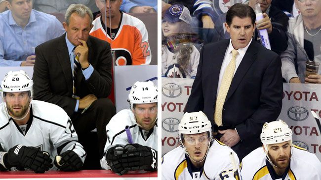 Darryl Sutter of the Los Angeles Kings and Peter Laviolette of the Nashville Predators were named head coaches for the 2015 NHL All-Star Game in Columbus, Ohio. (Eric Hartline-USA TODAY Sports and Bruce Fedyck-USA TODAY Sports)