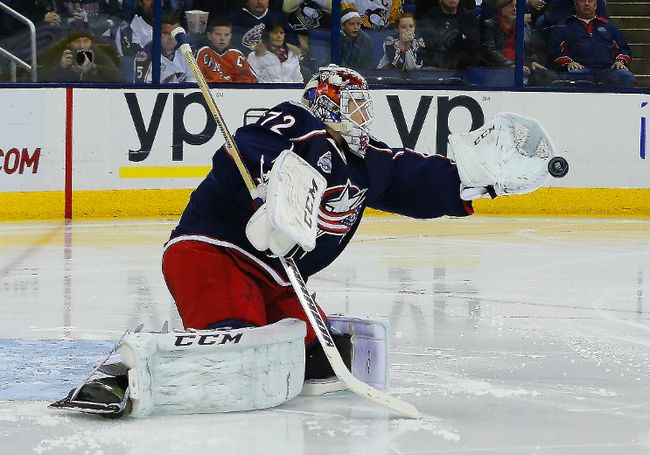 Columbus Blue Jackets goalie Sergei Bobrovsky gloves the puck against the Pittsburgh Penguins at Nationwide Arena. (Russell LaBounty/USA TODAY Sports)