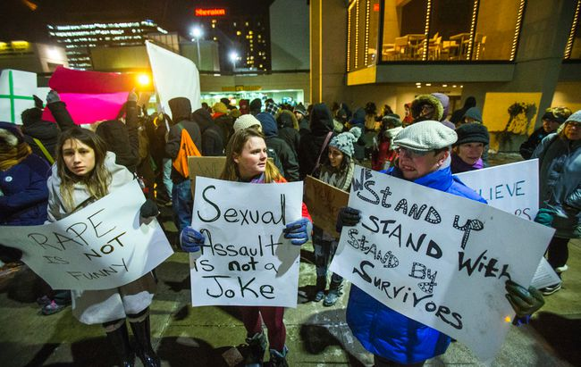 Protesters outside of the Cosby performance at Hamilton Place in Hamilton, Ont.  on Friday January 9, 2015. Ernest Doroszuk/Toronto Sun/QMI Agency