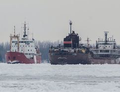 The Canadian Coast Guard Ship Griffon provides ice-breaking assistance to the bulk carrier Herbert C. Jackson in the St. Clair River Sunday. Officials with the Canadian Coast Guard responded to a total of five freighters trapped in the river after the deep freeze this weekend. In the case of the Herbert C. Jackson, the ship was able to continue southward to the Detroit area after being freed. PHOTO COURTESY OF CANADIAN COAST GUARD/RICHARD DOMPIERRE