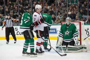 Jan 13, 2015; Dallas, TX, USA; Dallas Stars goalie Kari Lehtonen (32) gives up a goal to Ottawa Senators left wing Clarke MacArthur (not pictured) during the first period at the American Airlines Center. Mandatory Credit: Jerome Miron-USA TODAY Sports