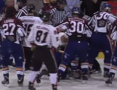 The Laval Predators and St-Georges Cool-FM brawled during the pre-game warmup of a LNAH match on Sunday. (YouTube screen grab)