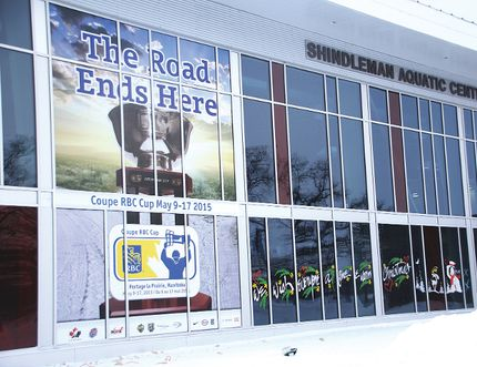 matt hermiz/herald leader The RBC cup mural on the PCU centre, which was put up in late Decemeber, is one of the many decorations the host committee will be rolling out in the coming months. Other items such as a large Hockey Canada jersey, Canadian Junior Hockey League jerseys, floor decals and banners will be showing up in stages. (Matt Hermiz/TheGraphic/QMIAgency)