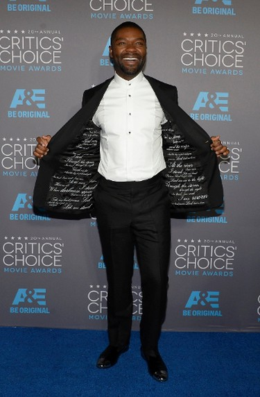 """David OyelowoGRADE: B+The """"Selma"""" actor had quotes from Martin Luther King Jr. on the inside of his jacket, now that's a statement! REUTERS/Kevork Djansezian   PDRTJS_settings_8024644 = { """"id"""" : """"8024644"""", """"unique_id"""" : """"default"""", """"title"""" : """""""", """"permalink"""" : """""""" }; (function(d,c,j){if(!document.getElementById(j)){var pd=d.createElement(c),s;pd.id=j;pd.src=('https:'==document.location.protocol)?'https://polldaddy.com/js/rating/rating.js':'http://i0.poll.fm/js/rating/rating.js';s=document.getElementsByTagName(c)[0];s.parentNode.insertBefore(pd,s);}}(document,'script','pd-rating-js'));"""