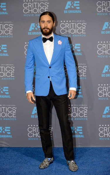 """Jared LetoGRADE: BWe have to admit, we dig the jacket, lapel and bow tie. But the shoes and coloured socks were overkill. REUTERS/Kevork Djansezian   PDRTJS_settings_8024661 = { """"id"""" : """"8024661"""", """"unique_id"""" : """"default"""", """"title"""" : """""""", """"permalink"""" : """""""" }; (function(d,c,j){if(!document.getElementById(j)){var pd=d.createElement(c),s;pd.id=j;pd.src=('https:'==document.location.protocol)?'https://polldaddy.com/js/rating/rating.js':'http://i0.poll.fm/js/rating/rating.js';s=document.getElementsByTagName(c)[0];s.parentNode.insertBefore(pd,s);}}(document,'script','pd-rating-js'));"""