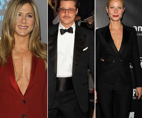 Brad Pitt (centre) flanked by two of his exes Jennifer Aniston (left) and Gwyneth Paltrow. (WENN.COM)