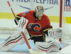 Two games. Two wins. One goal surrendered. One shutout. Joni Ortio's performance for the Calgary Flames, since being summoned from the minors, adds up to an obvious call when they face the San Jose Sharks in Saturday night's Hockey Night in Canada clash. Photo Stuart Dryden/ Calgary Sun