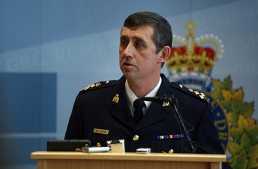 RCMP Assistant Commissioner Marlin Degrand updates the media at the RCMP K Division Headquarters, 11140 109 Street, on Saturday, January 17, 2015  in Edmonton, AB after two RCMP members were shot near St. Albert earlier on Saturday morning.  TREVOR ROBB/EDMONTON SUN/QMI AGENCY