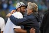 Seahawks head coach Pete Carroll (right) and quarterback Russell Wilson are back in the Super Bowl for the second year in a row.