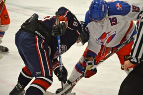 Every time the Stony Plain Flyers and Spruce Grove Regals meet for another edition of the tri-valry, the little battles and scrums are intensified. The Flyers came away victorious this time, 7-5. - Mitch Goldenberg, Reporter/Examiner