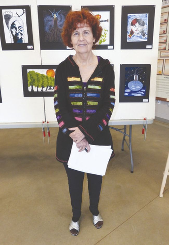 Pictured here is Nida Home-Doherty, an instructor in the dual credit program offered by Fanshawe College. The various merits of the program were highlighted last Tuesday at an art exhibit held at the REACH Huron centre in Clinton.