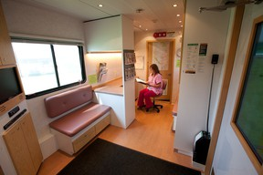 The interior of a mobile mammography trailer. Photo provided by Alberta Health Services.