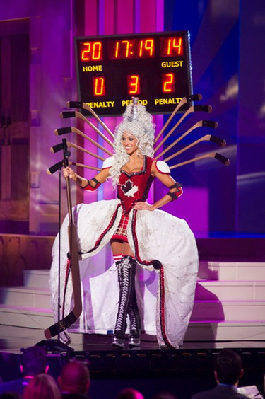 Chanel Beckenlehner, Miss Canada 2014, debuts her hockey themed costume during the Miss Universe national costume show on January 21.(Darren Decker/MUO/QMI Agency)