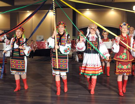 The senior Troyanda dancers of Grande Prairie perform a Pryvitalnyi Tanet (Welcome dance) at the 2014 Malanka Ukrainian New Year's celebration. This year's event kicks off the society's 40th anniversary and runs Jan. 31 at the Bowes Family Gardens. DHT FILE PHOTO