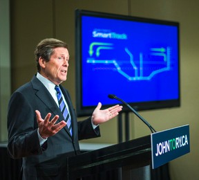 John Tory unveiled his transit plan to the media at the Metro Toronto Convention Centre in Toronto on May 27, 2014. (Ernest Doroszuk/Toronto Sun)