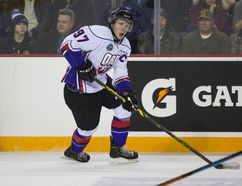 Connor McDavid from Team Orr skates into the Team Cherry end during the Top Prospects Game at the Meridian Centre in St. Catharines on January 22, 2015. (Bob Tymczyszyn/St. Catharines Standard/QMI Agency)