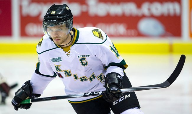 Newly minted captain Max Domi of the Knights wears his game face a game against the Sudbury Wolves at Budweiser Gardens in London Sunday November 2, 2014.  (MIKE HENSEN/QMI Agency)