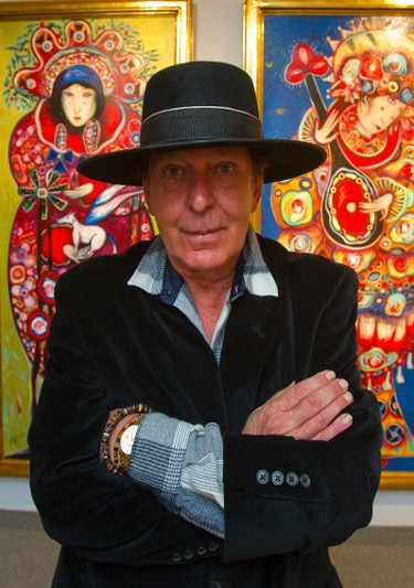 Toller Cranston with his art at Museum London, Ont. on March 13, 2013. (MIKE HENSEN/The London Free Press)