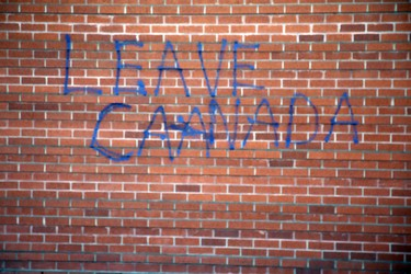This racist can not spell. Vandals paint hate message on the walls of Beth Israel Synagogue in Edmonton, Alberta on Tuesday Jan.20, 2015. Perry Mah/Edmonton Sun/QMI Agency