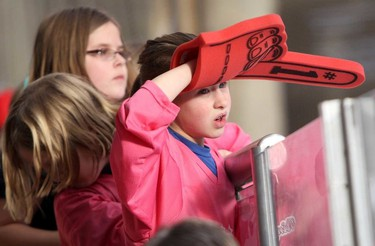 Young fans watch the action at the 2015 Ringette Scores on Cancer Media game at West Edmonton Mall  in Edmonton, Alberta on Sunday Jan.25, 2015.  Perry Mah/Edmonton Sun/QMI Agency